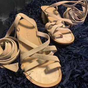 Chanel 2018 Cruise Collection Tan Lace-Up Sandals